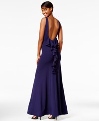 Sequin Hearts Juniors' V Back Ruffled Gown A Macy's Exclusive Style Navy