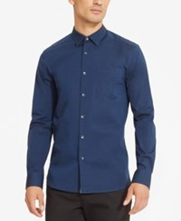 Kenneth Cole Reaction Men's Stretch Chambray Shirt Indigo Combo