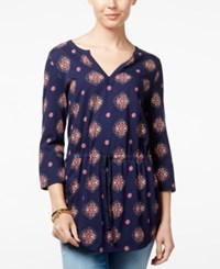 Tommy Hilfiger Camilla Printed Smocked Tunic Only At Macy's Peacoat Multi