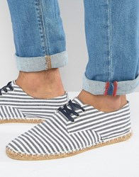 Asos Derby Espadrilles In Striped Blue And White Canvas Blue