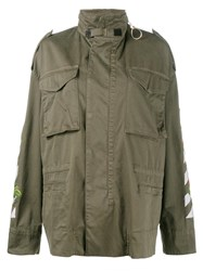 Off White Rose Embroidered Military Jacket Green