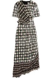 Preen By Thornton Bregazzi Addison Printed Sequined Georgette And Chiffon Dress Black