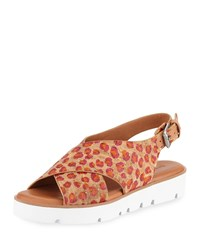 Gentle Souls Kiki Flower Cork Comfort Sandals Natural Red