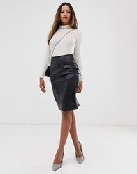 Mango Faux Leather Pencil Skirt In Black