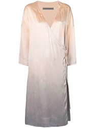 Raquel Allegra Tie Dye Charmeuse Dress Neutrals
