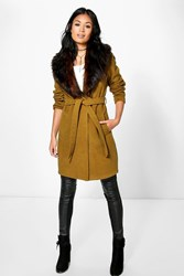 Boohoo Mia Belted Robe Coat With Faux Fur Collar Olive