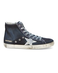 Golden Goose Darkest Navy Francy High Top Sneakers With White Star Blue