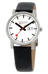 Mondaine Women's Evo Lution Date Leather Strap Watch 35Mm Black White Silver