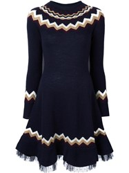 Red Valentino Chevron Knitted Dress Blue
