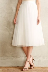 Anthropologie Tulle Midi Skirt Ivory