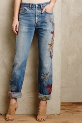 Burning Torch Embellished Vintage Jeans Coral