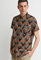 Forever 21 Chevron Tribal Print Shirt Black Mustard