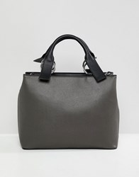 Asos Design Extended Handle Tote Bag Grey