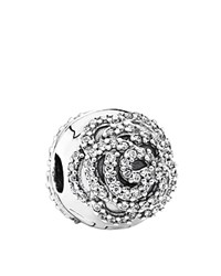 Pandora Design Pandora Clip Sterling Silver And Cubic Zirconia Shimmering Rose Moments Collection
