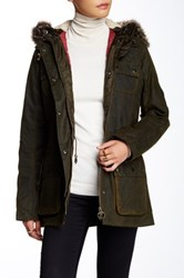 Barbour Brighton Faux Fur Trim Parka Green