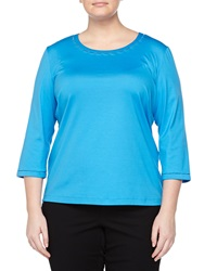 Lafayette 148 New York Mesh Cutout Neck Tee Waterfall
