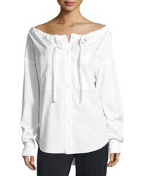 Theory Magena Off The Shoulder Poplin Shirt White