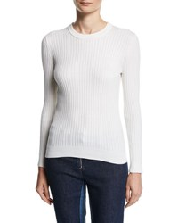 Courreges Ribbed Knit Long Sleeve Sweater White