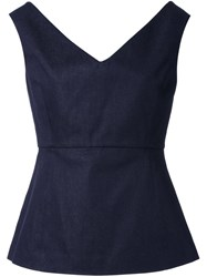 Le Ciel Bleu Loose Shoulder Bustier Top Blue