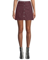 7 For All Mankind Button Front Coated Twill Mini Skirt Wine