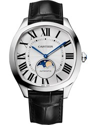 Cartier Crwsnm0008 Drive De Moon Phases Alligator Leather And Stainless Steel Watch
