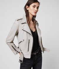 Allsaints Balfern Leather Biker Jacket Cement Grey