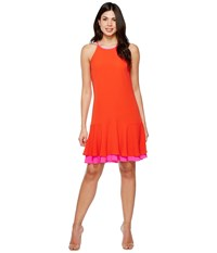 Vince Camuto Sleeveless Halter Color Blocked Ruffle Hem Dress Red Hot Women's Dress