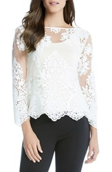 Karen Kane Women's Embroidered Lace Flare Sleeve Top Cream