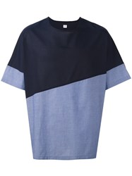 E. Tautz Colour Block Wide Fit 'Collection' T Shirt Blue