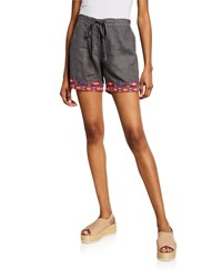 Johnny Was Plus Size Etienne Drawstring Linen Shorts W Embroidered Trim Voltage