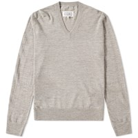 Maison Martin Margiela 14 Elbow Patch V Neck Jumper Grey