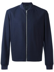 Gieves And Hawkes Bomber Jacket Men Wool Xl Blue