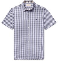 Burberry Slim Fit Gingham Cotton Shirt Navy
