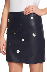 Cece Embellished Faux Leather Miniskirt Caviar