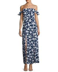 Lucca Couture Off The Shoulder Floral Maxi Dress Blue Pattern
