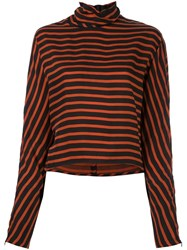 Mcq By Alexander Mcqueen High Neck Striped Blouse Black