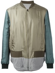 Fendi Striped Hem Bomber Jacket Green