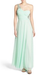 Women's Sequin Hearts 'Marilyn' Embellished One Shoulder Gown Mint
