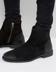 Asos Chelsea Boots In Black Suede With Leather Heal Detail Black