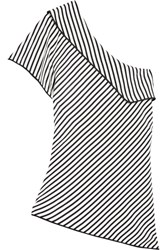 Diane Von Furstenberg One Shoulder Striped Silk Top Black
