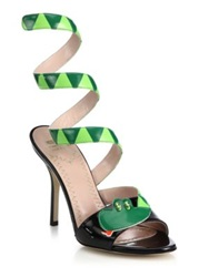 Moschino Cheap And Chic Snake Wrap Around Patent Leather Sandals Green Black