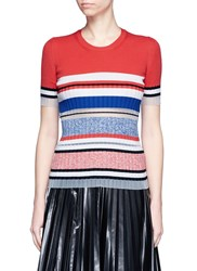 Mrz Mesh Insert Contrast Stripe Knit Top Multi Colour