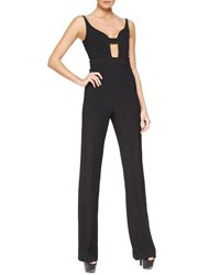Narciso Rodriguez Sleeveless Cutout Scuba Crepe Jumpsuit Black