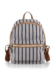 Elizabeth And James Cynnie Striped Mixed Media Backpack Grey Multi