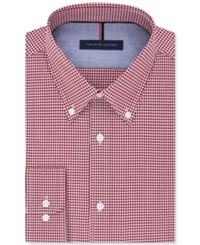 Tommy Hilfiger Men's Slim Fit Non Iron Red Check Dress Shirt Dark Red