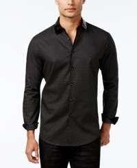 Inc International Concepts Men's Faux Leather Collar Dot Pattern Shirt Only At Macy's Black