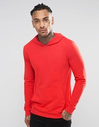 Asos Lightweight Muscle Fit Hoodie In Red High Risk Red