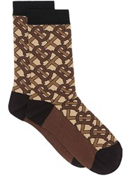 Burberry Monogram Intarsia Cotton Blend Socks Brown