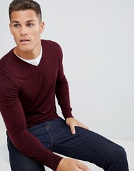 Celio Merino Wool Jumper In Burgundy Red