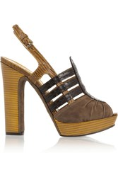 Tory Burch Cora Suede And Patent Leather Sandals Yellow